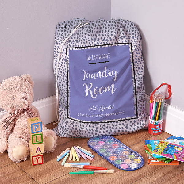 Personalised Help Wanted - Blue Sheen - 1 Image - Laundry Bag