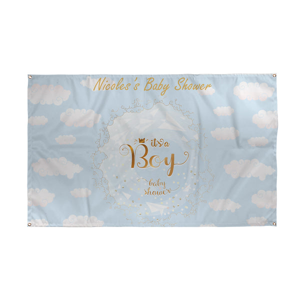 Blue Clouds - Baby Shower Banner - 5ft x 3ft