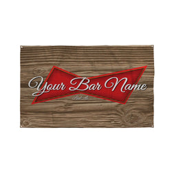 Wood Inspired Bar Name Banner - 5ft x 3ft | Funny Personalised Pub Sign UK