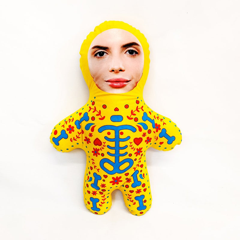 yellow candy skull mini me doll