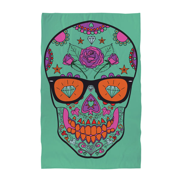 Candy Skull Teal - Beach Towel