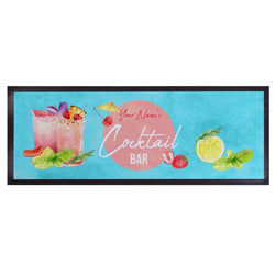 Personalised Bar Runner - Cocktail Bar - Watercolour - Blue