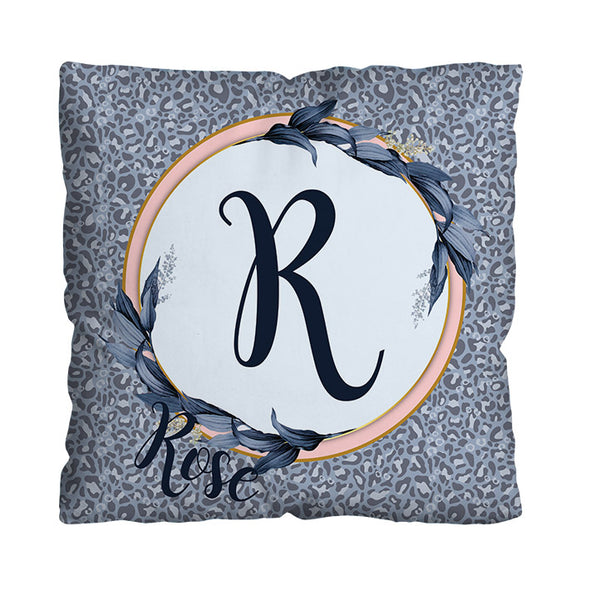 Ice Blue Spot Initial Design - 45cm Cushion