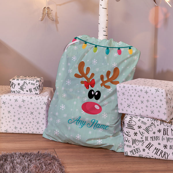 Reindeer Bow - Personalised Santa Sack