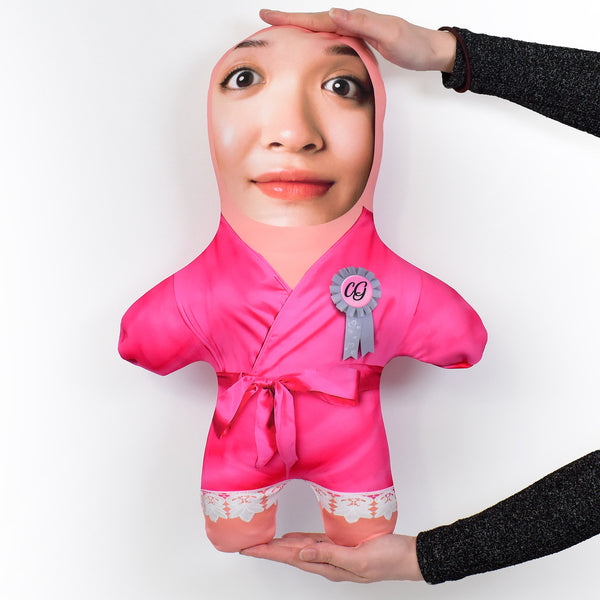 Pink Silk Dressing Gown - 2 Skin Tones - Personalised Mini Me Doll