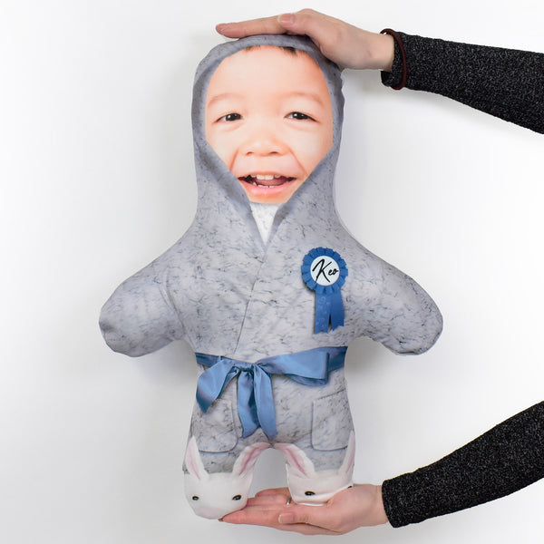 Fluffy Grey Dressing Gown - Personalised Mini Me Doll