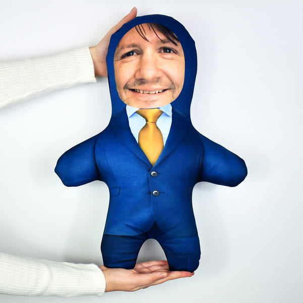 Blue Suit Gold Tie - Personalised Mini Me Doll