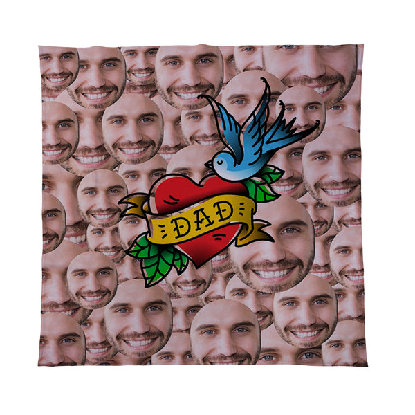 Dad Tattoo - Face All Over - Personalised Photo Fleece Blanket