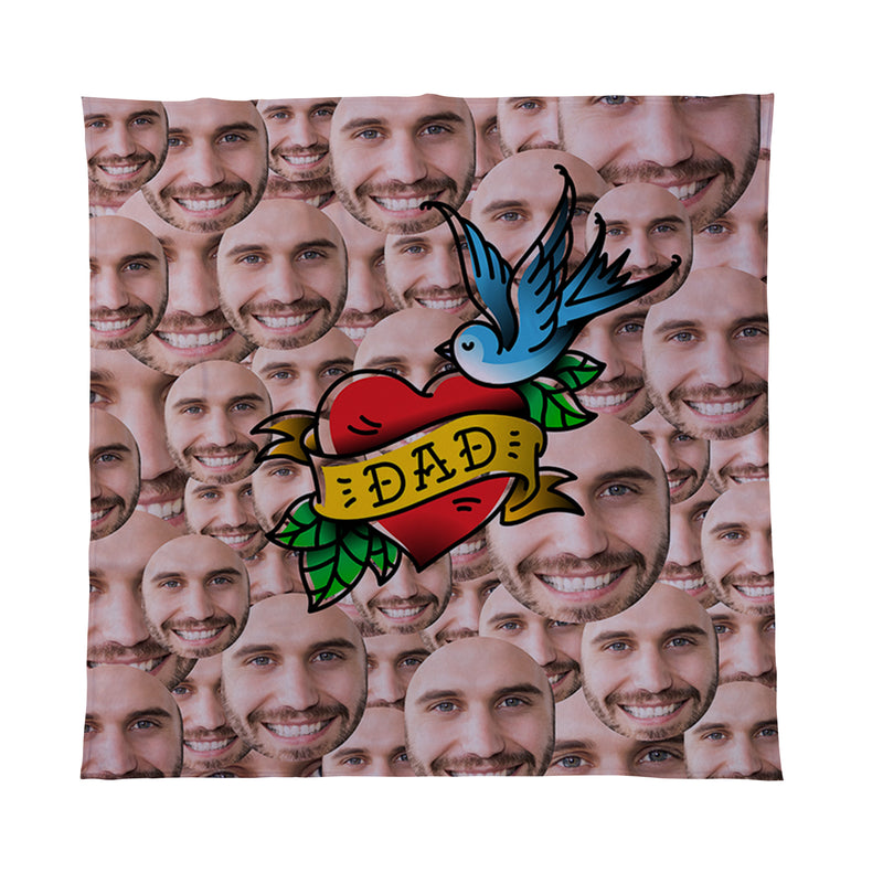 Dad Tattoo - Face All Over -  Photo Fleece Blanket