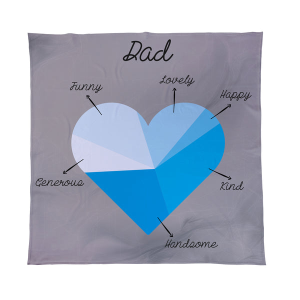 Love Heart Blue Pie Chart - Add Your Text - Personalised Fleece Blanket
