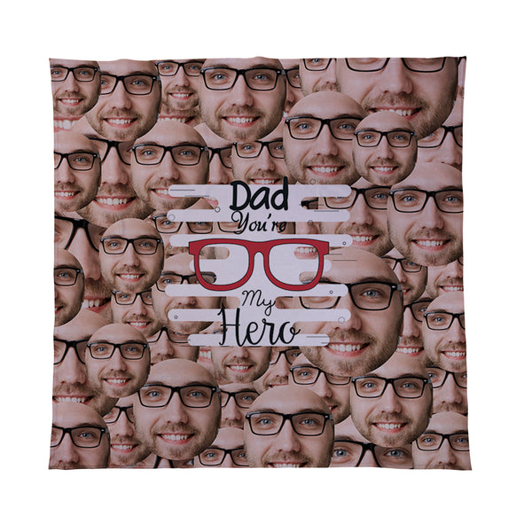 Dad Hero - Face All Over - Personalised Photo Fleece Blanket