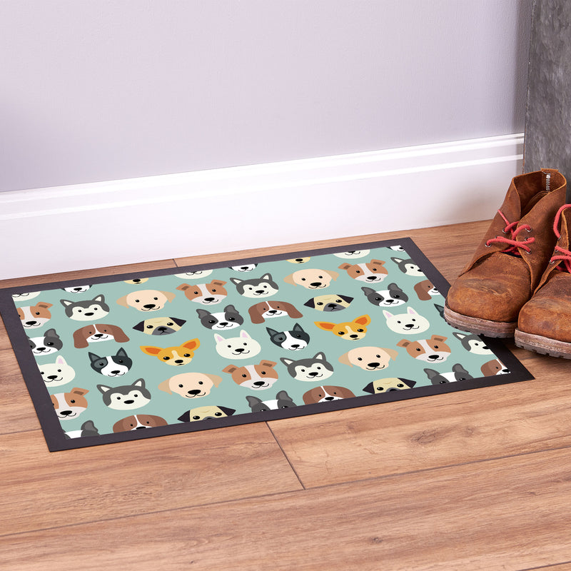 Dog Pattern Blue - Pet Bowl Mat