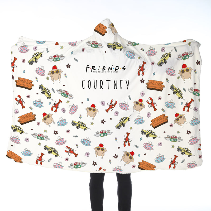 FRIENDS™ Personalised Patterned Adult Hooded Blanket
