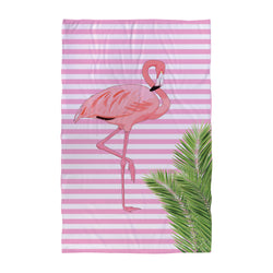 Flamingo Pink Stripes - Beach Towel