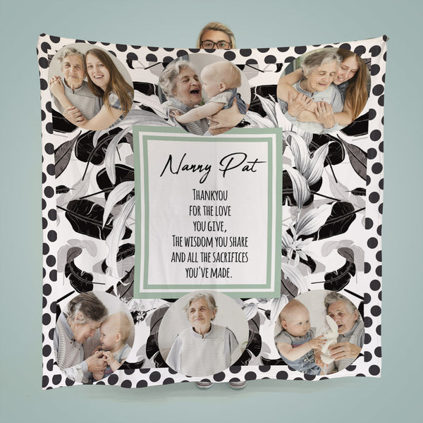 Monochrome Jungle Spot Design - Personalised  6 Photo Fleece Blanket