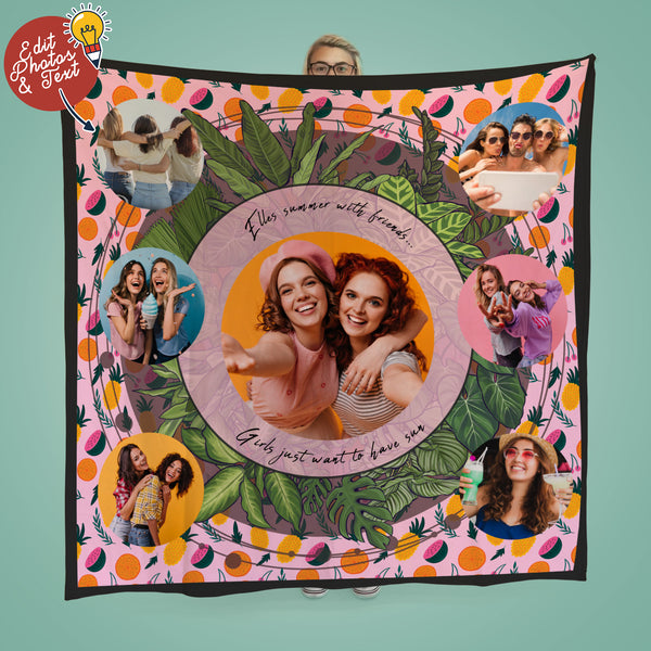 Fruit Pattern - Girls just want to have sun - Photo Fleece Throw