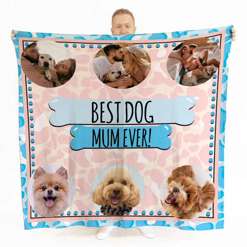 Personalised Retro Pink Pop Dog Mum -  6 Photo Fleece Blanket