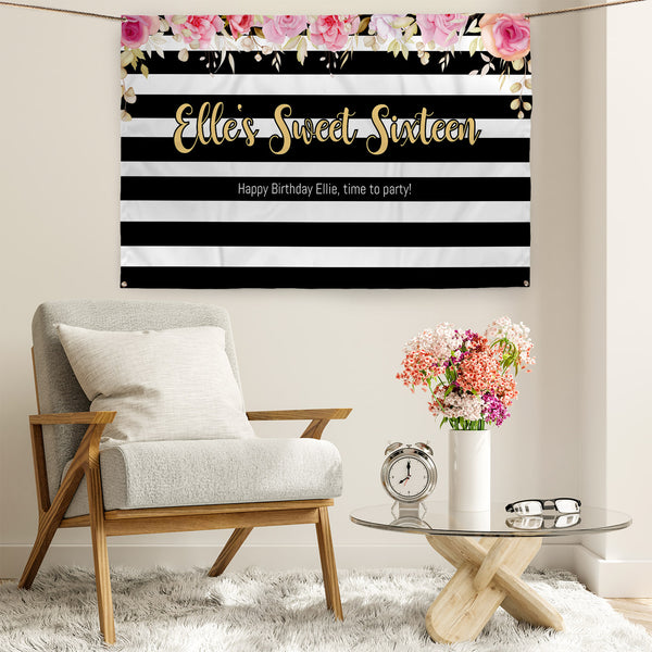 Floral Stripe Party Backdrop - 5ft x 3ft