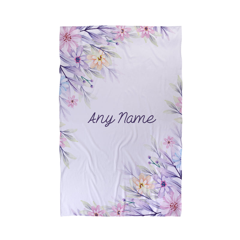 Floral Border Personalised Beach Towel