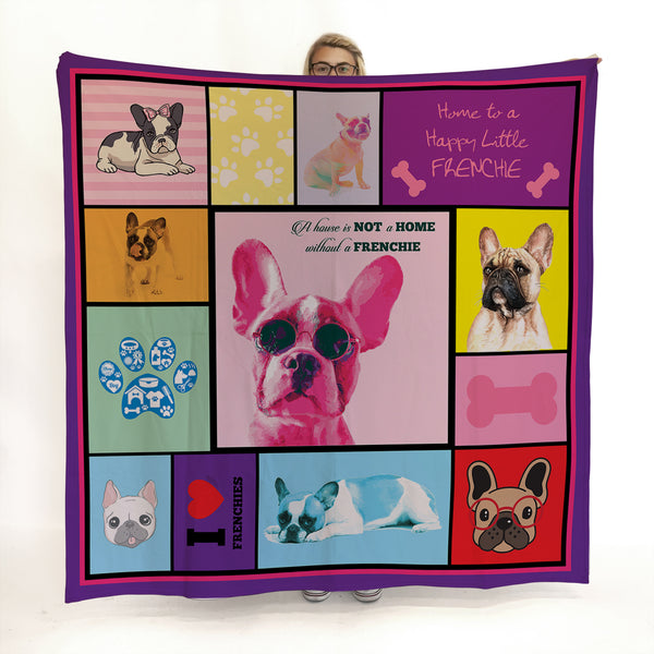 French Bulldog - Colourful Pet Blanket