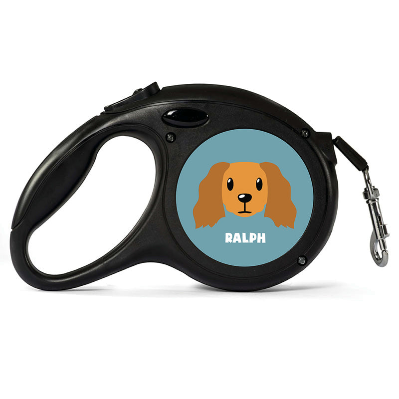 Personalised Golden Cocker Spaniel Retractable Dog Lead - Large