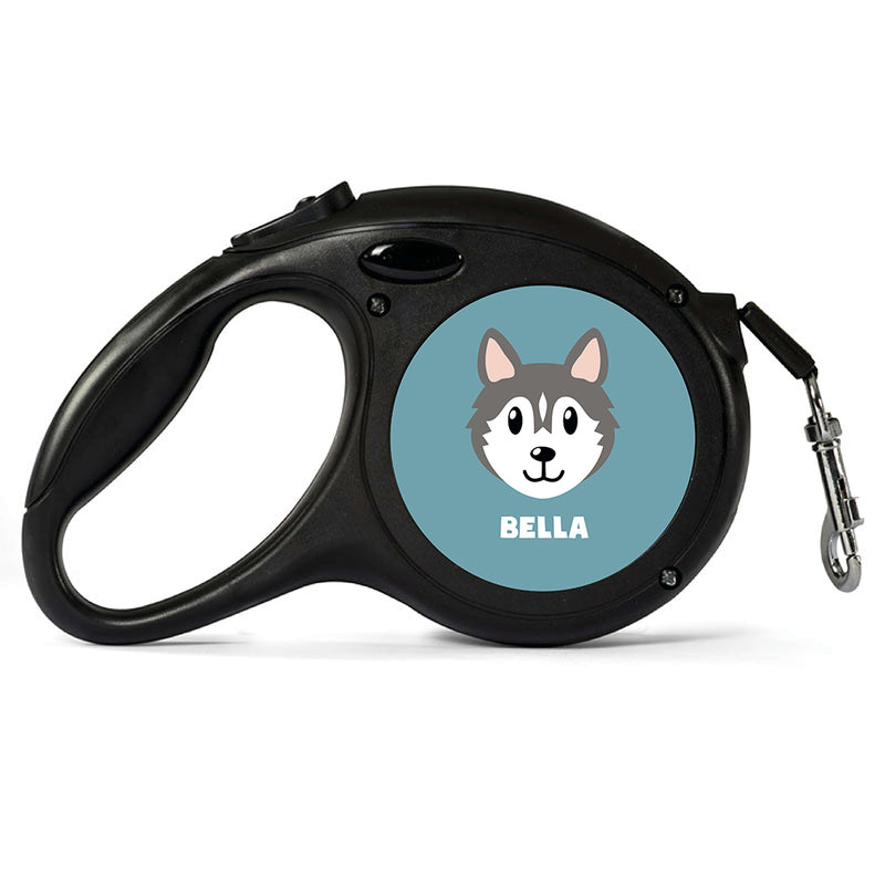 Personalised Grey Husky Retractable Dog Lead - Large