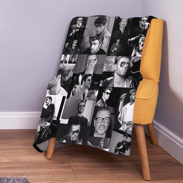 Celebrity Montage -  George Michael B&W Fleece Throw