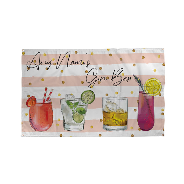 Sketch Gin Bar Name Banner - 5ft x 3ft | Funny Personalised Pub Sign UK