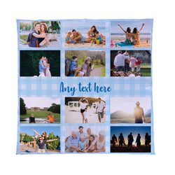 Gingham Blue - Personalised Photo Fleece Blanket