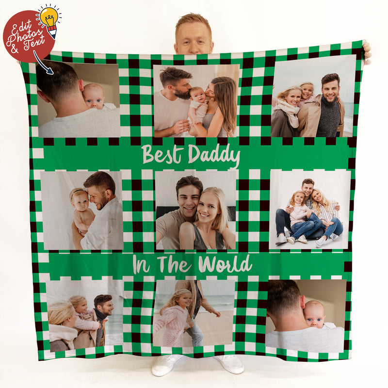 Green Gingham - 9 Photo -  Photo Fleece Blanket