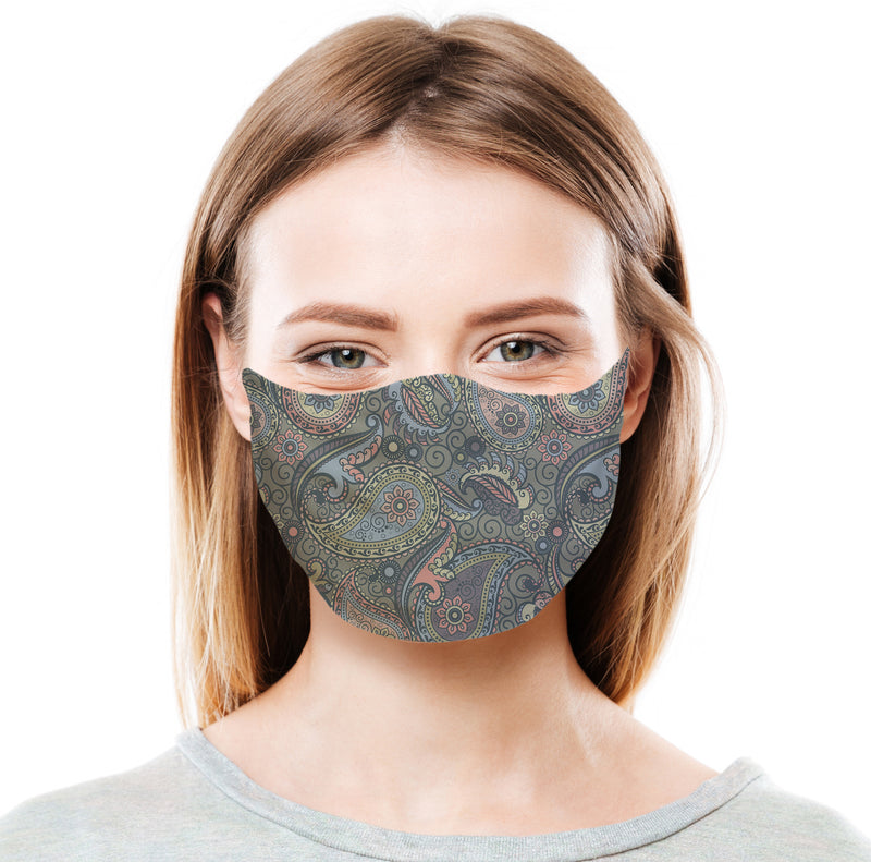 Grey Paisley Protective Face Mask