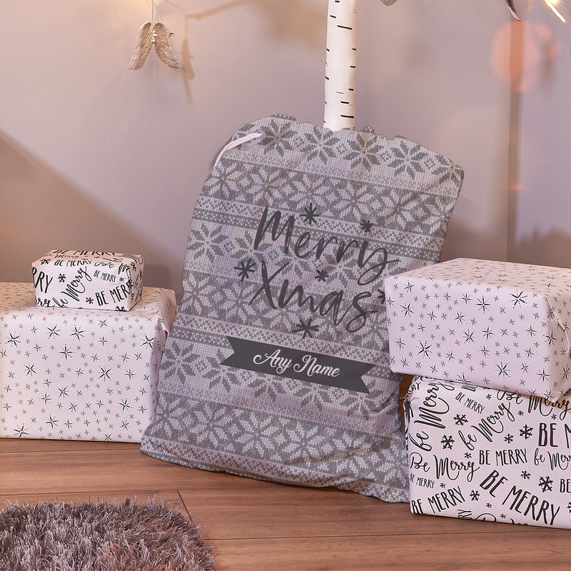 Nordic Grey - Personalised Santa Sack
