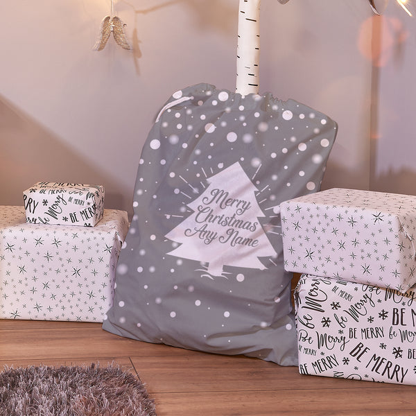 Tree - Grey & White - Personalised Santa Sack