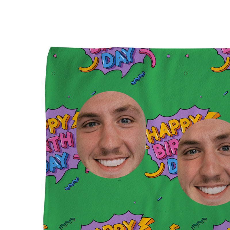 Happy Birthday - Face Scatter Beach Towel