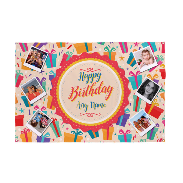 Happy Birthday Photo Banner - 6ft x 4ft