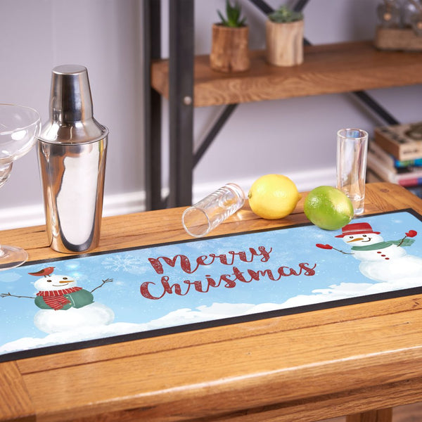 Happy Snowmen Merry Christmas - Bar Runner