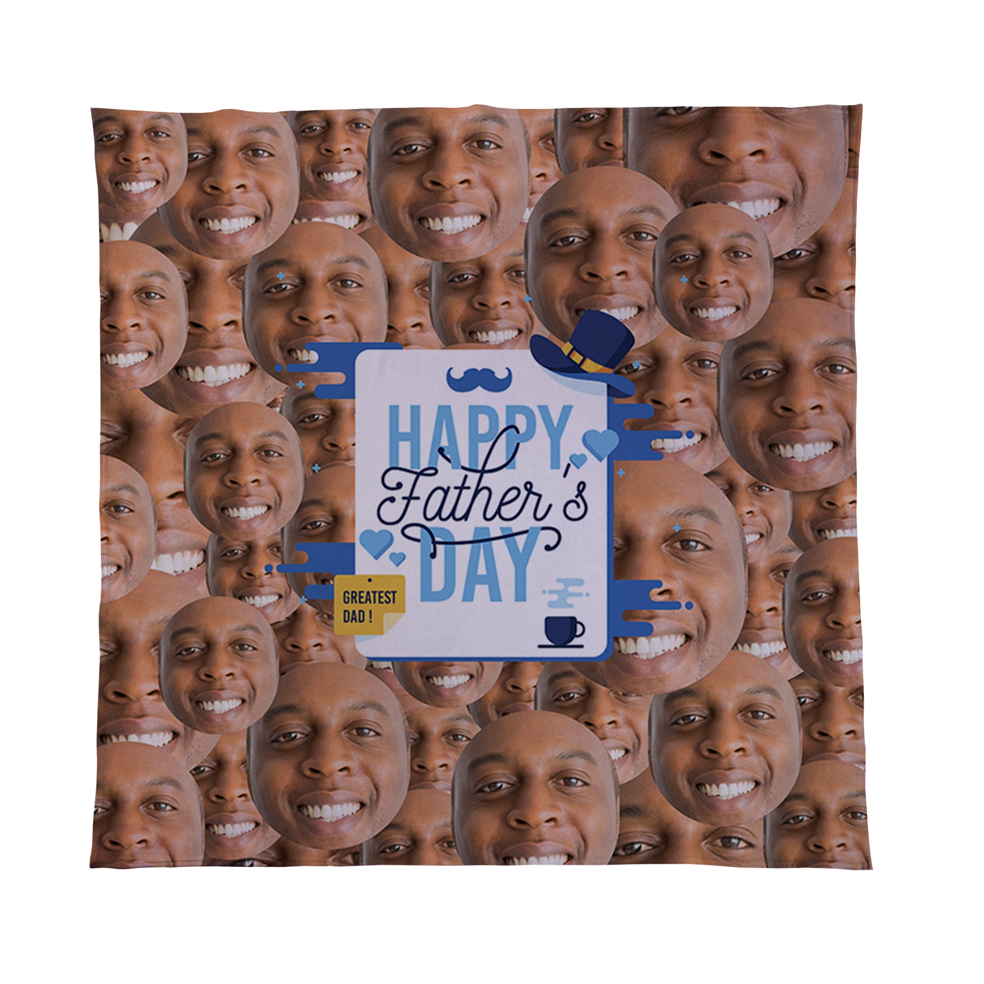 Happy Fathers Day - Face All Over -  Photo Fleece Blanket