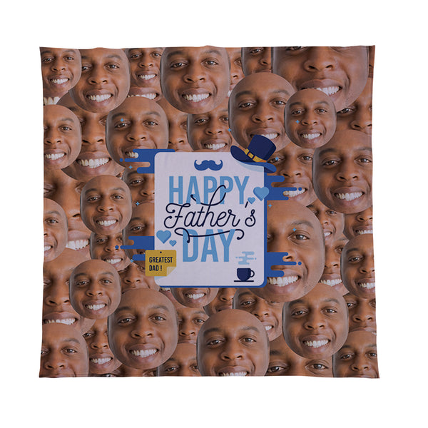 Happy Fathers Day - Face All Over - Personalised Photo Fleece Blanket
