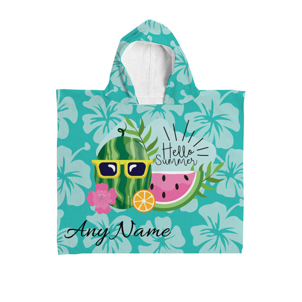 Personalised Hooded Towel - Hello Summer Blue
