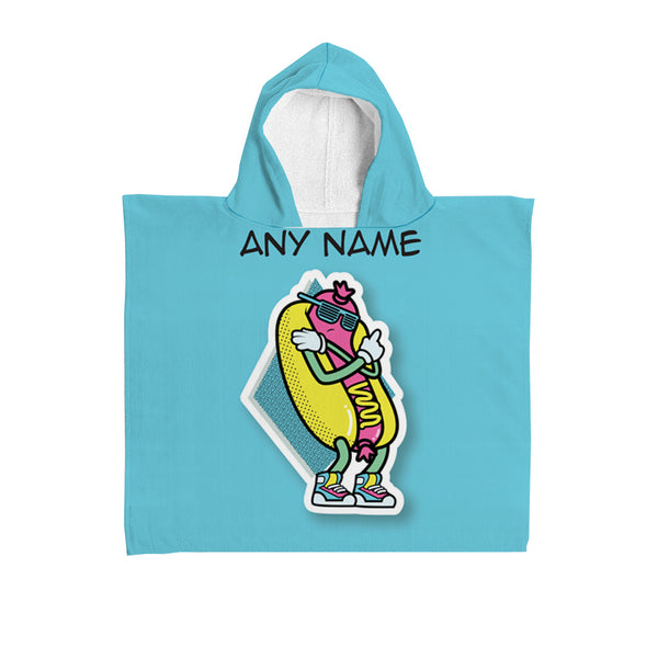 Personalised Hooded Towel - Hotdog