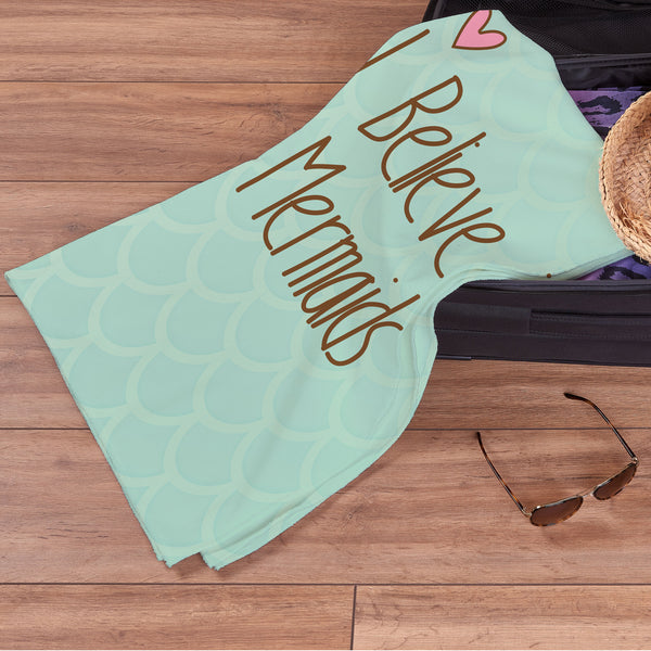 Personalised Beach Towel - I Believe in Mermaids