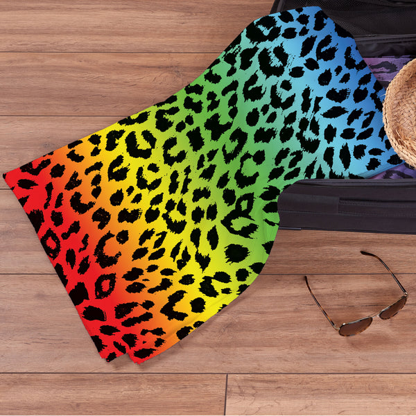 Leopard Print Dark Rainbow - Beach Towel
