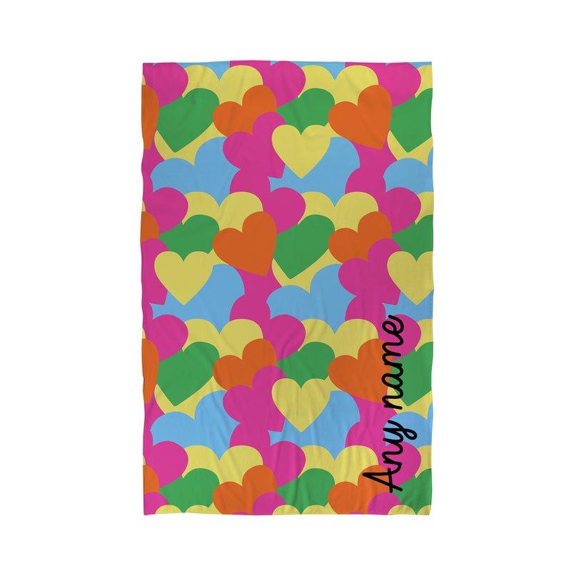 Personalised Beach Towel - Multi Hearts - Love Island Inspired