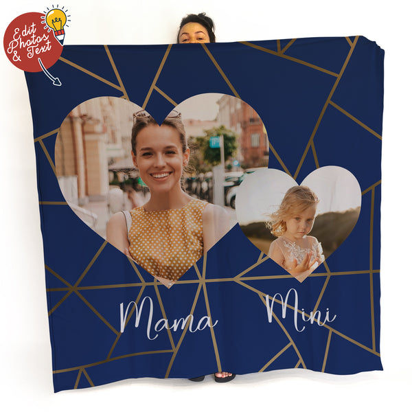 Mama Mini Navy -  Photo Fleece Blanket - Mothers Day