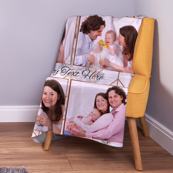 Rose Gold Marble - 4 Photo - Personalised Photo Fleece Blanket