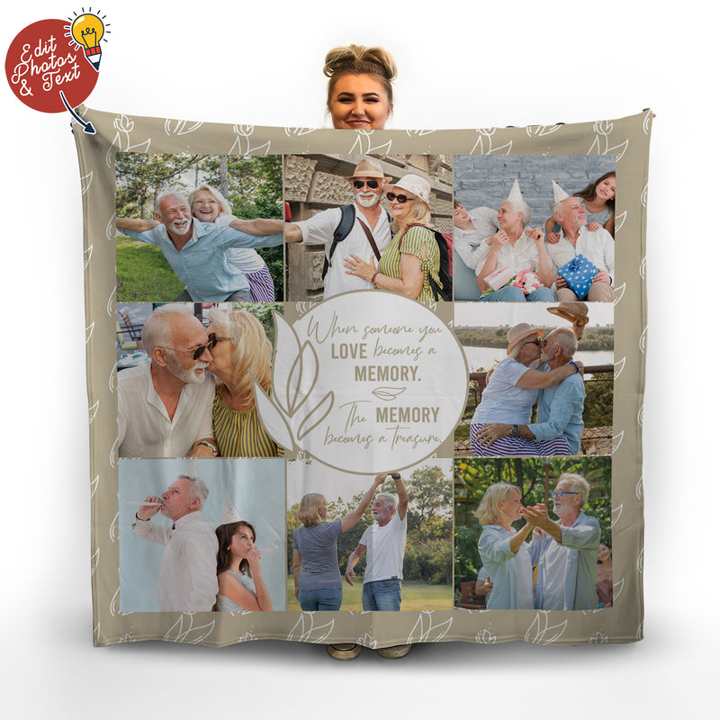 Gold Memorial - Personalised Photo Fleece Blanket