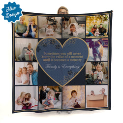 Memory Value - Navy & Gold - 12 Photo - Personalised Photo Fleece Blanket