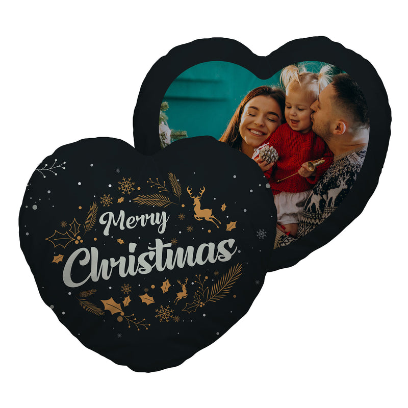 Merry Christmas - Gold - Heart Shaped Photo Cushion