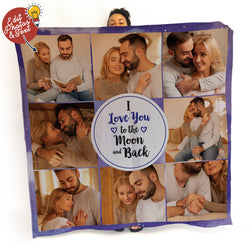 Moon and Back Photo Blanket - 8 Photo - Personalised Fleece