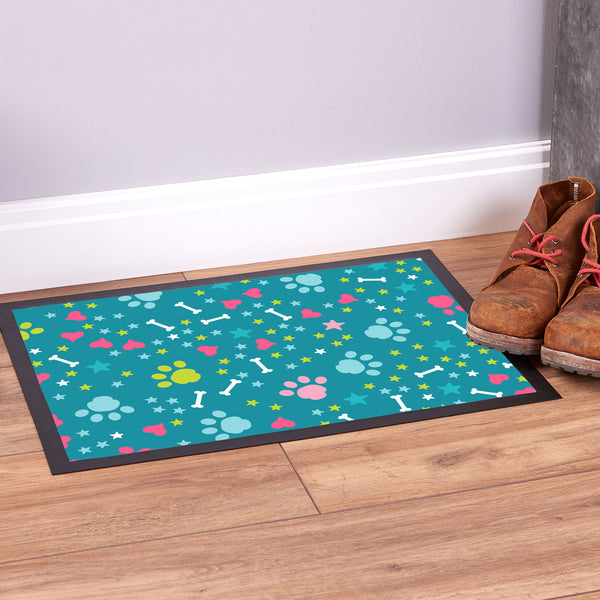 Multicoloured Paw Prints - Pet Bowl Mat